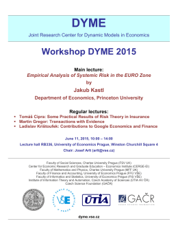 Workshop DYME 2015 Main lecture