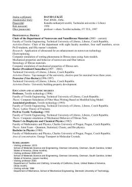 CV Lukas - Fakulta textilní - Technical University of Liberec
