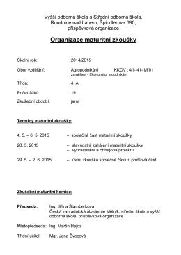Organizace maturitní zkoušky - VOŠ a SOŠ Roudnice nad Labem