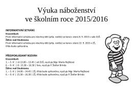 Výuka náboženství ve školním roce 2015/2016