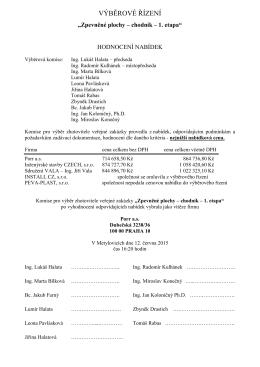 Výběr zhotovitele veřejné zakázky – Zpevněné plochy