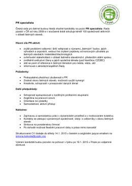 PR specialista - Česká rada pro šetrné budovy