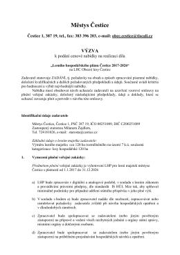 Výzva k podání cennové nabídky na realizaci díla LHP
