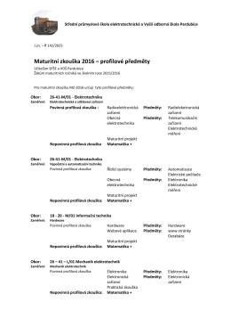 Maturitní zkouška 2016 – profilové předměty