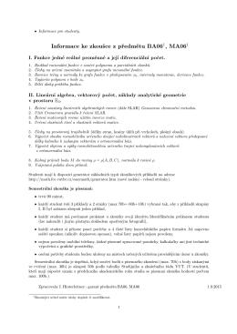 Informace ke zkoušce z předmětu BA06 , MA061