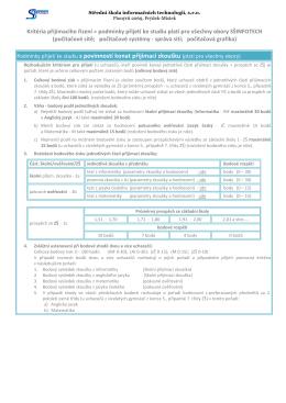 podmínky přijetí s povinností konat přijímací zkoušky