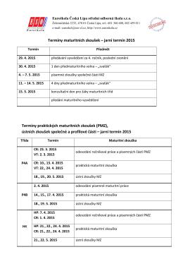 Termíny maturitních zkoušek – jarní termín 2015 Termíny praktických