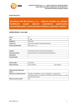 Zkouškový řád NN Finance, s.r.o. - odborná zkouška pro základní