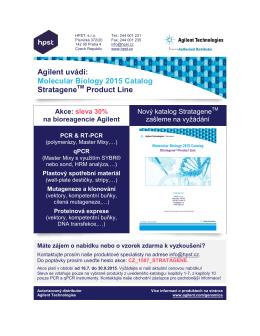 Agilent uvádí: Molecular Biology 2015 Catalog Stratagene Product
