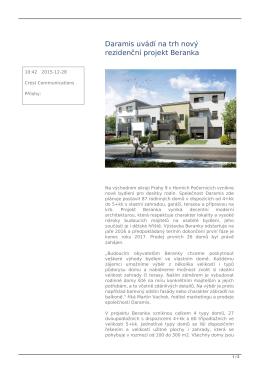 Daramis uvádí na trh nový rezidenční projekt Beranka