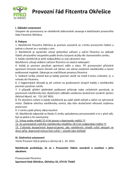 Provozní řád Fitcentra Okřešice
