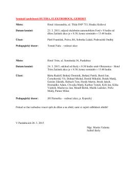 24.3.2015 Seminář společností HUTIRA+ELEKTROBOCK+