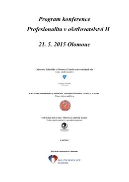 Program konference Profesionalita v ošetřovatelství II 21. 5. 2015