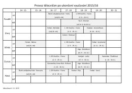 Provoz tělocvičen po ukončení vyučování 2015/16