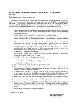 Vnitřní směrnice ke konání školních výletů