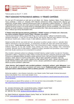 Tisková zpráva - Oblastní charita Třebíč