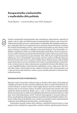 Komparatistika a bohemistika z maďarského úhlu pohledu