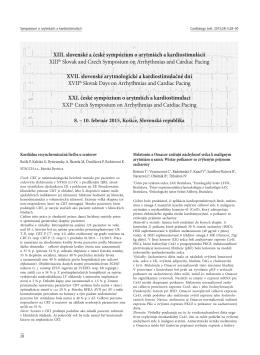 XIII. slovenské a české sympózium o arytmiách a kardiostimulácii
