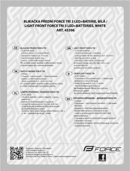blikačka přední force tri 3 led+baterie, bílá / light