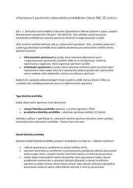 Informace k povinným zdravotním prohlídkám členů FBC ZŠ Uničov