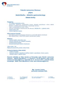 Fakultní nemocnice Olomouc přijme lékaře/lékařku – dětského