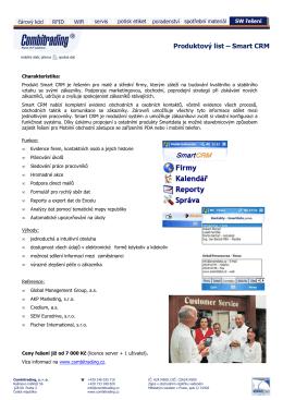 produktový list SmartCRM