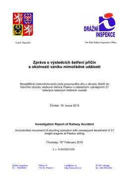 Zpráva o výsledcích šetření příčin a okolností