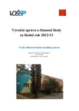 Výroční zpráva o činnosti školy za r. 2012