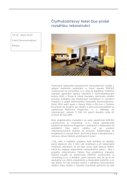 Čtyřhvězdičkový Hotel Duo prošel rozsáhlou rekonstrukcí