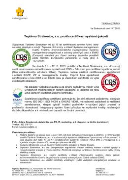 Teplárna Strakonice, a.s. prošla certifikací systémů jakosti