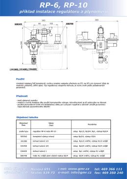 Příklad instalace regulátoru a plynoměru