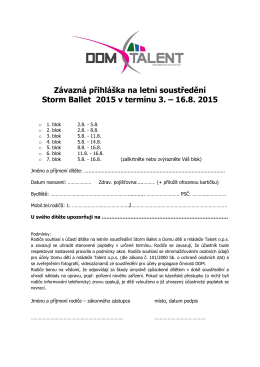 Závazná přihláška na letní soustředění Storm Ballet 2015 v termínu