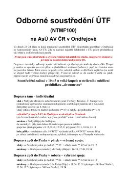Odborné soustředění ÚTF na AsÚ AV ČR v Ondřejově