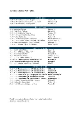 Termínová listina PKNJ 2015