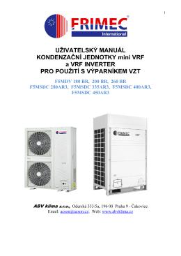 Uživatelský manuál kondenzační jednotky F5MDV