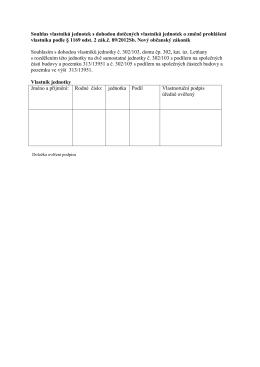Souhlas vlastníků jednotek s dohodou dotčených vlastníků jednotek