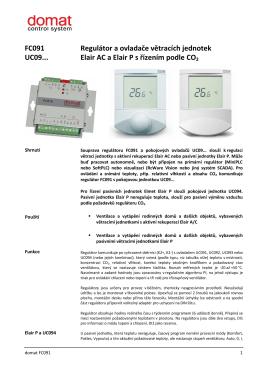 FC091 UC09... Regulátor a ovladače větracích jednotek Elair AC a