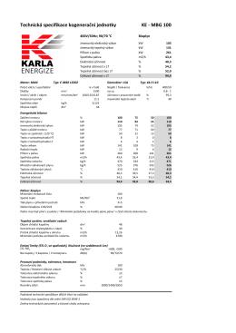 Technická specifikace kogenerační jednotky KE