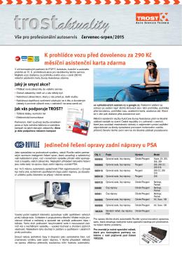K prohlídce vozu před dovolenou za 290 Kč měsíční asistenční karta