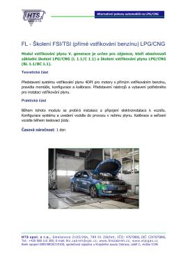 Školení FSI/TSI (přímé vstřikování benzínu) LPG/CNG