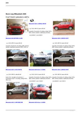 Nové vozy Mitsubishi ASX