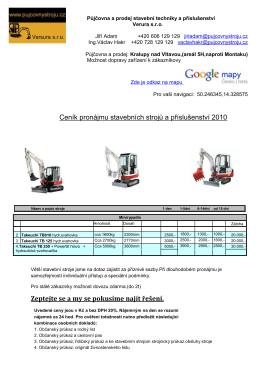 Ceník pronájmu stavebních strojů a příslušenství