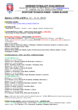 Zprávy z STK a KM (č. 13 – 11.11. 2015) - Soutěže