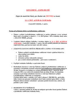 OZNÁMENÍ – ZÁPIS DO MŠ - Mateřská škola Blahoslavova