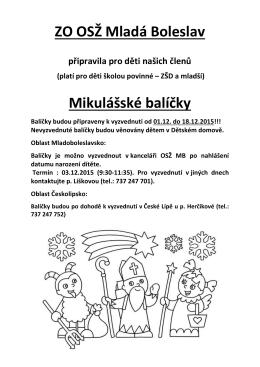 ZO OSŽ Mladá Boleslav Mikulášské balíčky