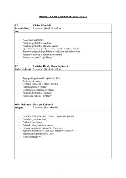 1 Osnovy IPPV od 1. ročníku šk. roku 2015/16 ŘP Patent/užitný vzor