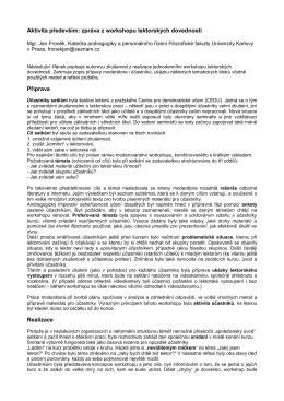 Aktivita především: zpráva z workshopu lektorských