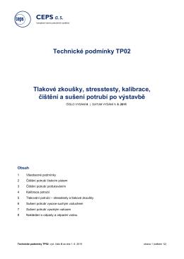 Technické podmínky CEPS – Tlakové zkoušky
