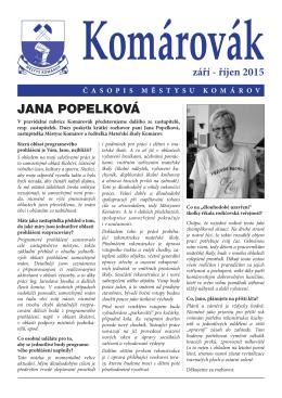 JANA POPELKOVÁ - Městys Komárov