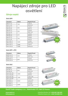Katalog LED zdrojů - OaxiS Trade company